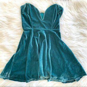 Tobi Teal Crushed Velvet Strapless Dress